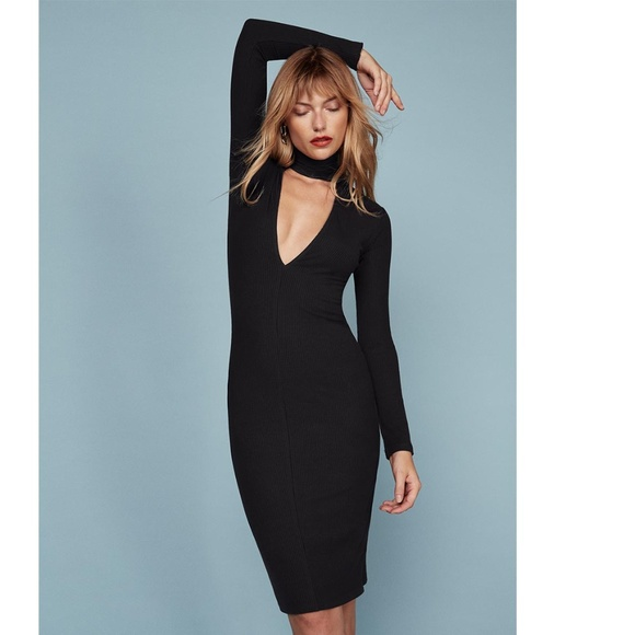 Reformation Dresses Nwot Blaise Black Dress Deep V Neck Poshmark